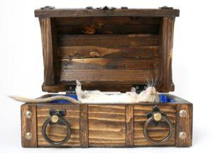עכבר לבן מת טמון בארון קבורה מעץ